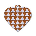 TRIANGLE2 WHITE MARBLE & RUSTED METAL Dog Tag Heart (Two Sides) Front