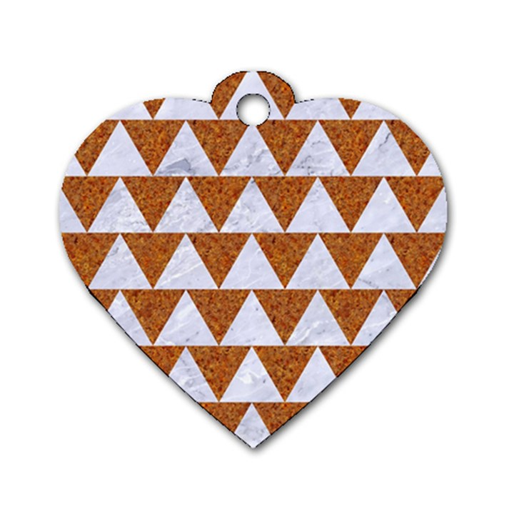 TRIANGLE2 WHITE MARBLE & RUSTED METAL Dog Tag Heart (Two Sides)