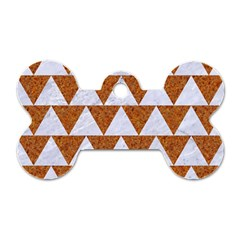 Triangle2 White Marble & Rusted Metal Dog Tag Bone (two Sides)