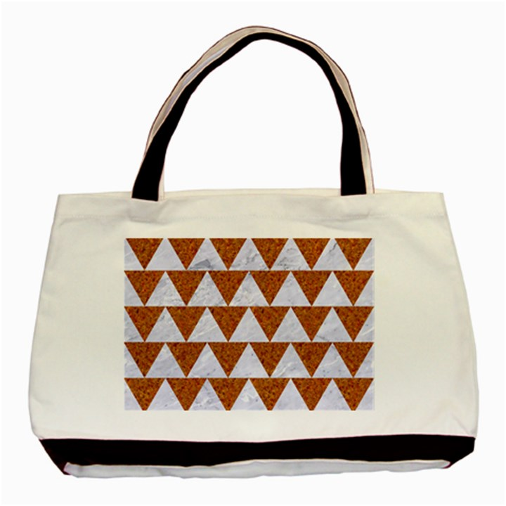 TRIANGLE2 WHITE MARBLE & RUSTED METAL Basic Tote Bag (Two Sides)