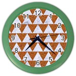TRIANGLE2 WHITE MARBLE & RUSTED METAL Color Wall Clocks Front