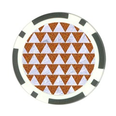 Triangle2 White Marble & Rusted Metal Poker Chip Card Guard