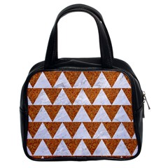 Triangle2 White Marble & Rusted Metal Classic Handbags (2 Sides)