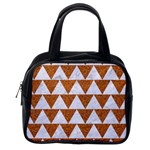 TRIANGLE2 WHITE MARBLE & RUSTED METAL Classic Handbags (2 Sides) Back