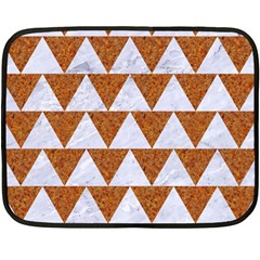 Triangle2 White Marble & Rusted Metal Double Sided Fleece Blanket (mini)