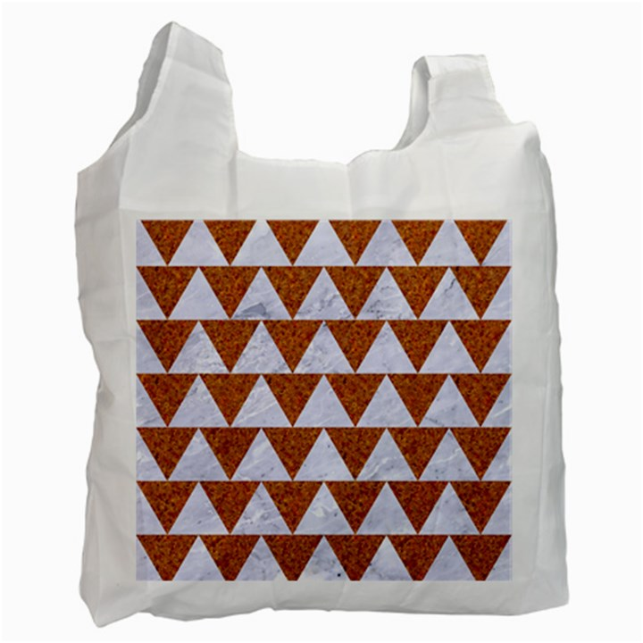 TRIANGLE2 WHITE MARBLE & RUSTED METAL Recycle Bag (Two Side)