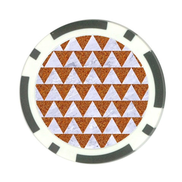TRIANGLE2 WHITE MARBLE & RUSTED METAL Poker Chip Card Guard (10 pack)