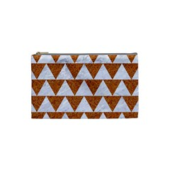 Triangle2 White Marble & Rusted Metal Cosmetic Bag (small)