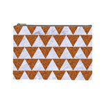 TRIANGLE2 WHITE MARBLE & RUSTED METAL Cosmetic Bag (Large)  Front