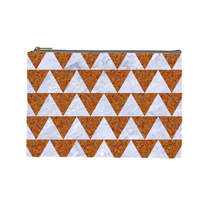TRIANGLE2 WHITE MARBLE & RUSTED METAL Cosmetic Bag (Large)