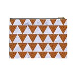 TRIANGLE2 WHITE MARBLE & RUSTED METAL Cosmetic Bag (Large)  Back