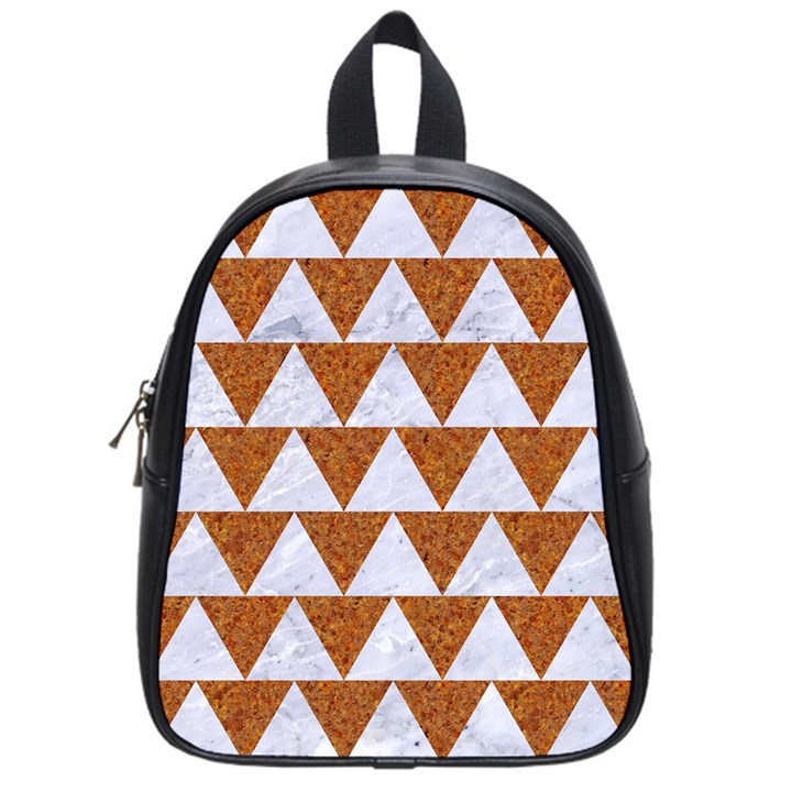 TRIANGLE2 WHITE MARBLE & RUSTED METAL School Bag (Small)