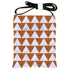Triangle2 White Marble & Rusted Metal Shoulder Sling Bags