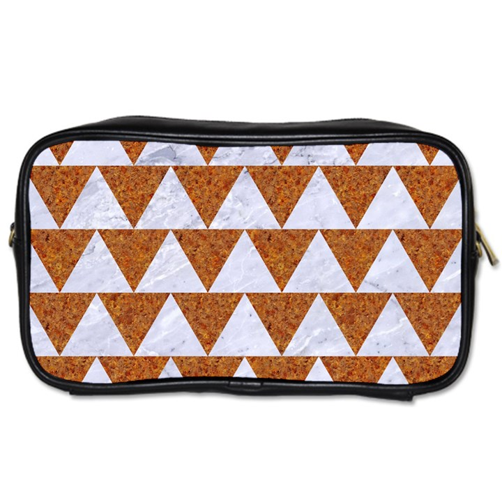 TRIANGLE2 WHITE MARBLE & RUSTED METAL Toiletries Bags 2-Side