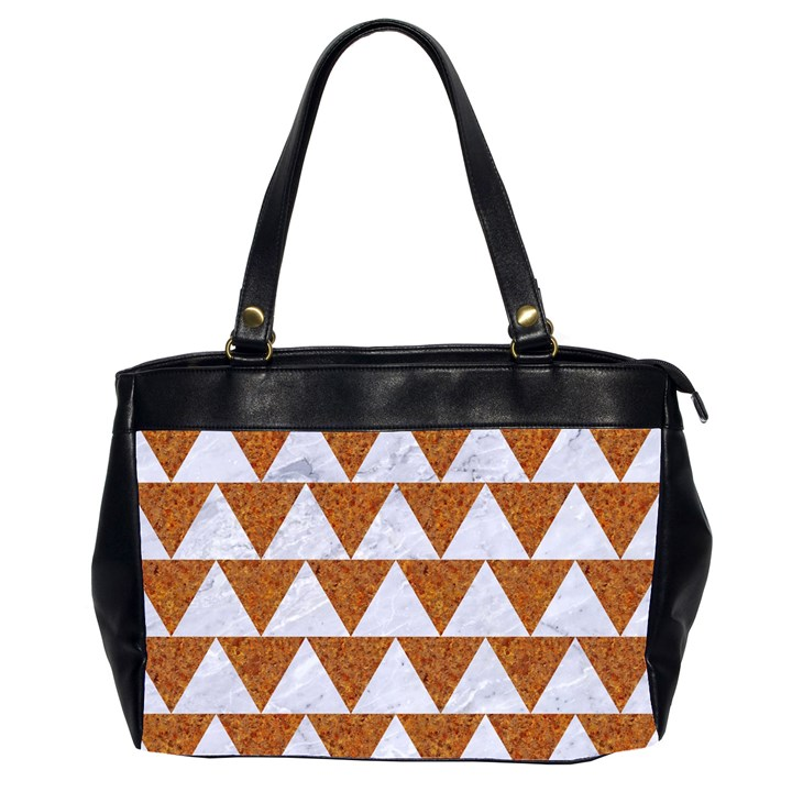 TRIANGLE2 WHITE MARBLE & RUSTED METAL Office Handbags (2 Sides)