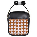 TRIANGLE2 WHITE MARBLE & RUSTED METAL Girls Sling Bags Front