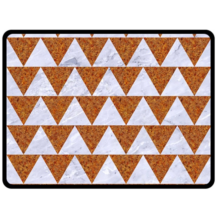 TRIANGLE2 WHITE MARBLE & RUSTED METAL Fleece Blanket (Large)