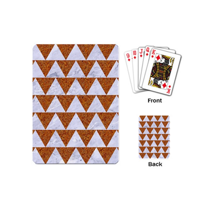 TRIANGLE2 WHITE MARBLE & RUSTED METAL Playing Cards (Mini)