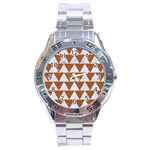 TRIANGLE2 WHITE MARBLE & RUSTED METAL Stainless Steel Analogue Watch Front