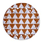 TRIANGLE2 WHITE MARBLE & RUSTED METAL Ornament (Round Filigree) Front