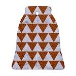 TRIANGLE2 WHITE MARBLE & RUSTED METAL Ornament (Bell) Front