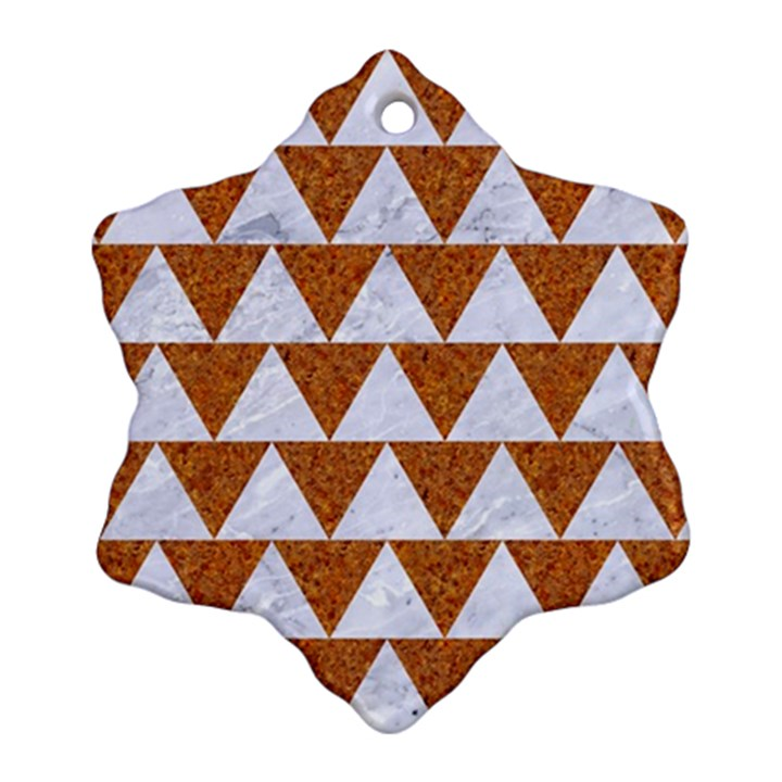 TRIANGLE2 WHITE MARBLE & RUSTED METAL Snowflake Ornament (Two Sides)