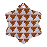 TRIANGLE2 WHITE MARBLE & RUSTED METAL Snowflake Ornament (Two Sides) Back
