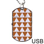 TRIANGLE2 WHITE MARBLE & RUSTED METAL Dog Tag USB Flash (One Side) Front