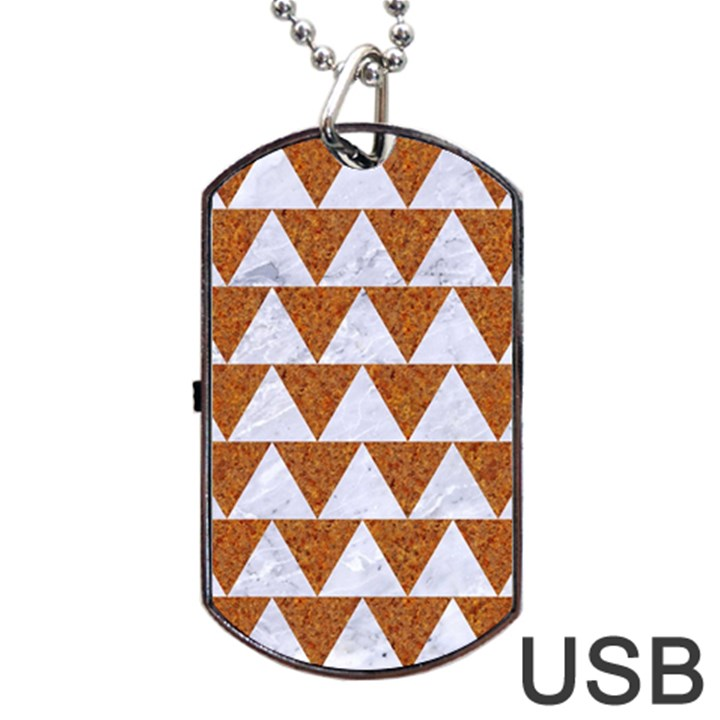 TRIANGLE2 WHITE MARBLE & RUSTED METAL Dog Tag USB Flash (Two Sides)