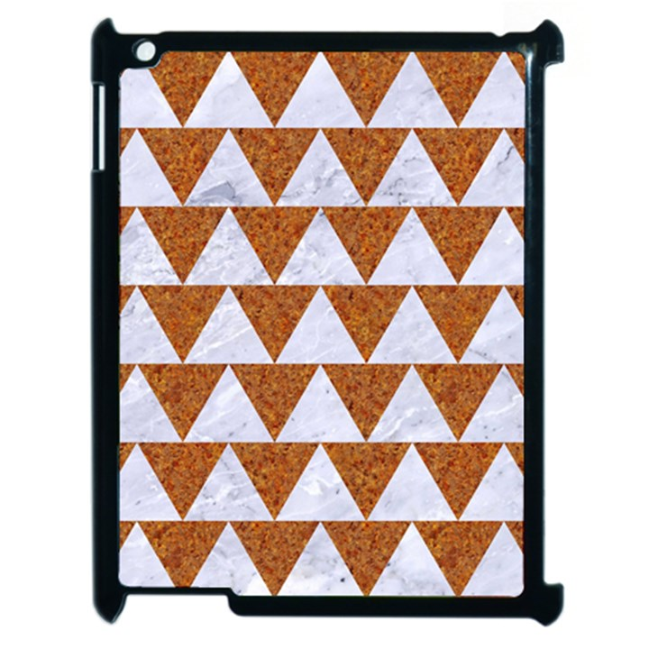 TRIANGLE2 WHITE MARBLE & RUSTED METAL Apple iPad 2 Case (Black)