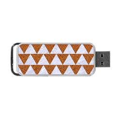 Triangle2 White Marble & Rusted Metal Portable Usb Flash (one Side)