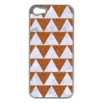 TRIANGLE2 WHITE MARBLE & RUSTED METAL Apple iPhone 5 Case (Silver) Front