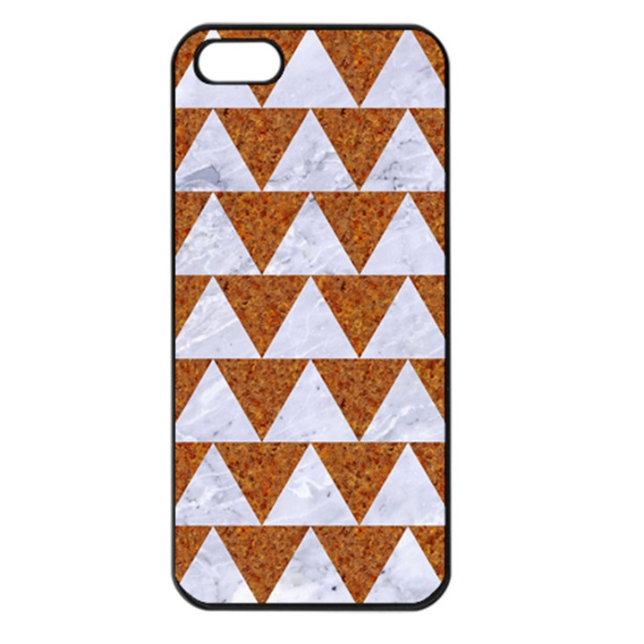 TRIANGLE2 WHITE MARBLE & RUSTED METAL Apple iPhone 5 Seamless Case (Black)