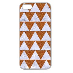 Triangle2 White Marble & Rusted Metal Apple Seamless Iphone 5 Case (clear)