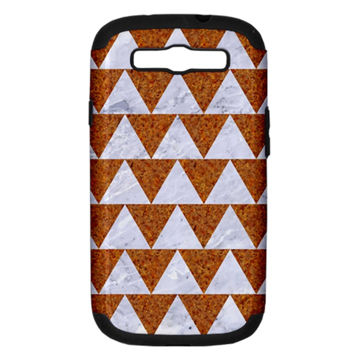 TRIANGLE2 WHITE MARBLE & RUSTED METAL Samsung Galaxy S III Hardshell Case (PC+Silicone)