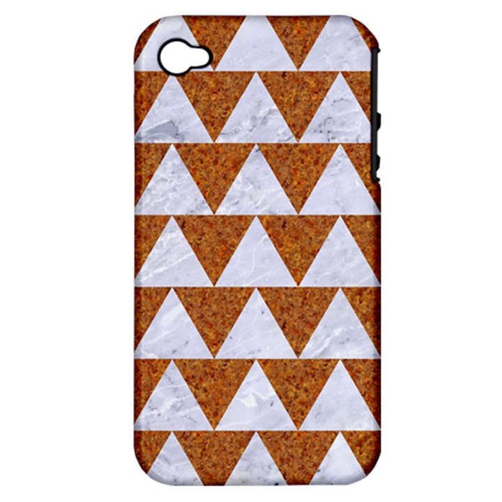 TRIANGLE2 WHITE MARBLE & RUSTED METAL Apple iPhone 4/4S Hardshell Case (PC+Silicone)