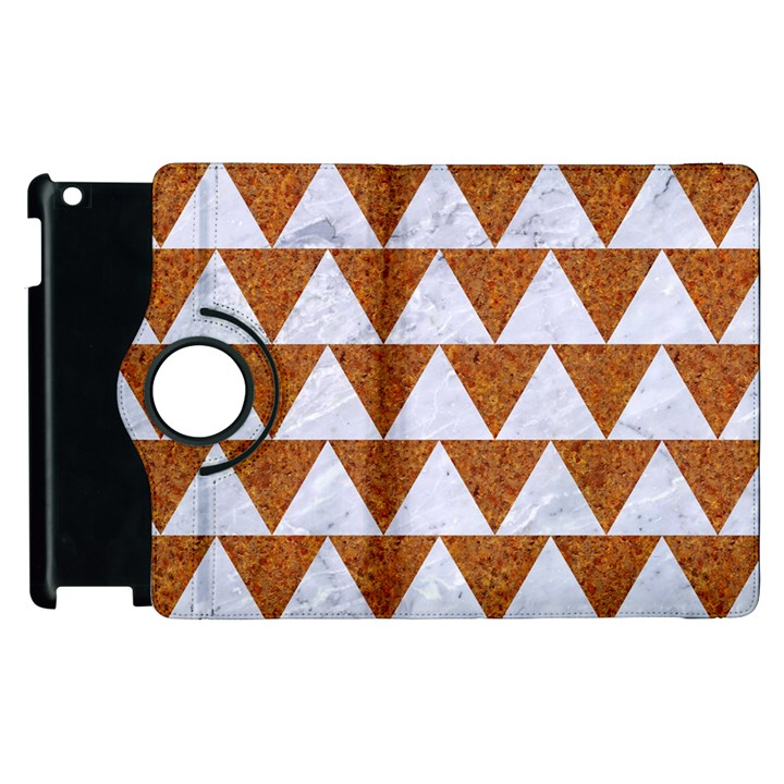 TRIANGLE2 WHITE MARBLE & RUSTED METAL Apple iPad 3/4 Flip 360 Case