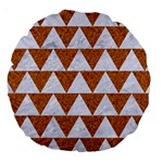 TRIANGLE2 WHITE MARBLE & RUSTED METAL Large 18  Premium Round Cushions Back