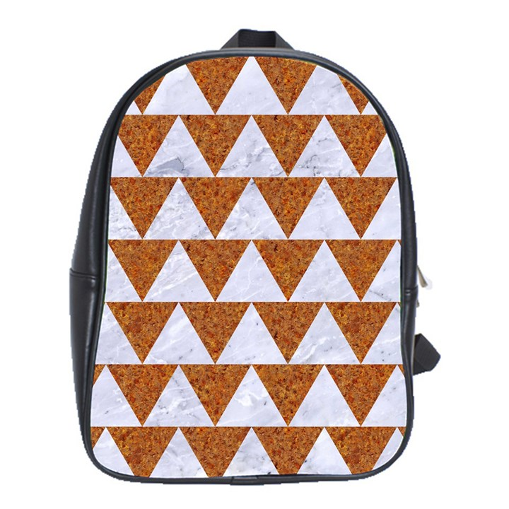 TRIANGLE2 WHITE MARBLE & RUSTED METAL School Bag (XL)