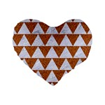 TRIANGLE2 WHITE MARBLE & RUSTED METAL Standard 16  Premium Heart Shape Cushions Front