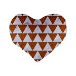 TRIANGLE2 WHITE MARBLE & RUSTED METAL Standard 16  Premium Heart Shape Cushions Back