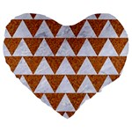 TRIANGLE2 WHITE MARBLE & RUSTED METAL Large 19  Premium Heart Shape Cushions Front