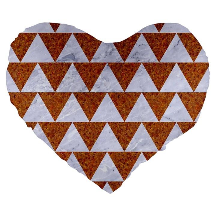 TRIANGLE2 WHITE MARBLE & RUSTED METAL Large 19  Premium Heart Shape Cushions