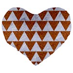 TRIANGLE2 WHITE MARBLE & RUSTED METAL Large 19  Premium Heart Shape Cushions Back