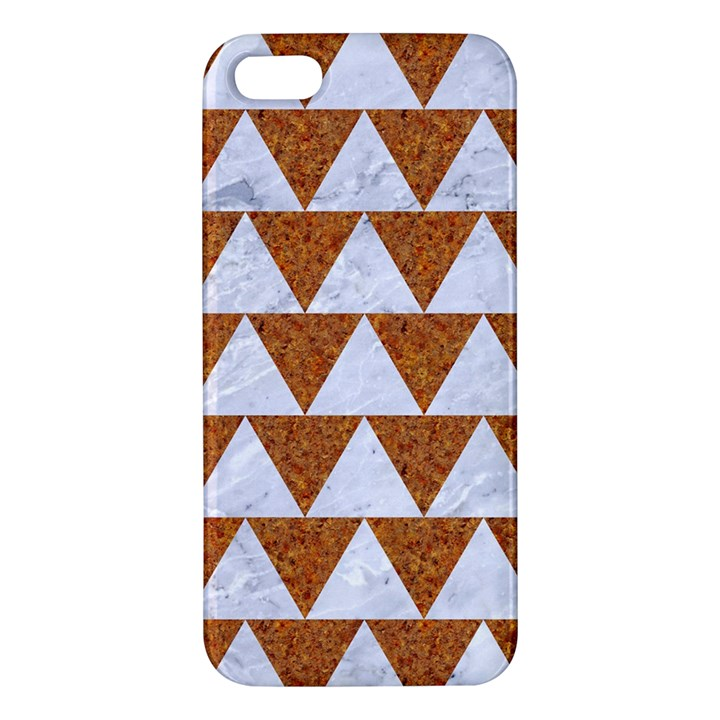 TRIANGLE2 WHITE MARBLE & RUSTED METAL Apple iPhone 5 Premium Hardshell Case