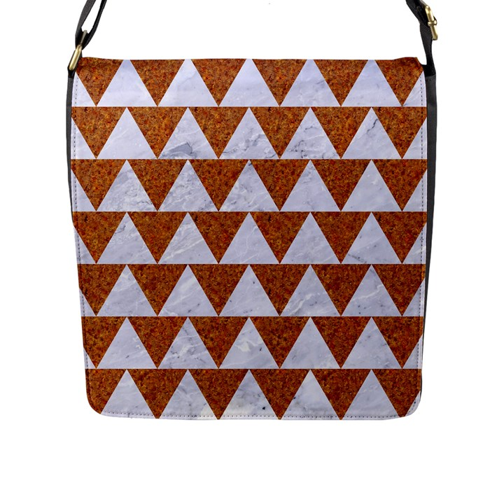 TRIANGLE2 WHITE MARBLE & RUSTED METAL Flap Messenger Bag (L)
