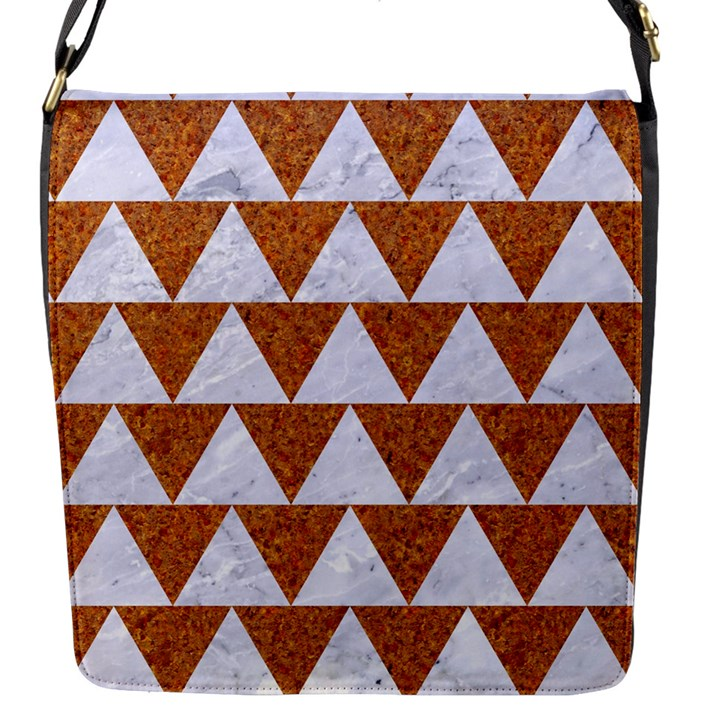 TRIANGLE2 WHITE MARBLE & RUSTED METAL Flap Messenger Bag (S)