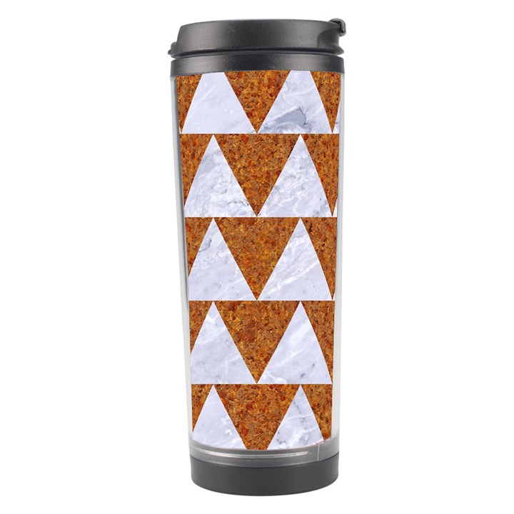 TRIANGLE2 WHITE MARBLE & RUSTED METAL Travel Tumbler