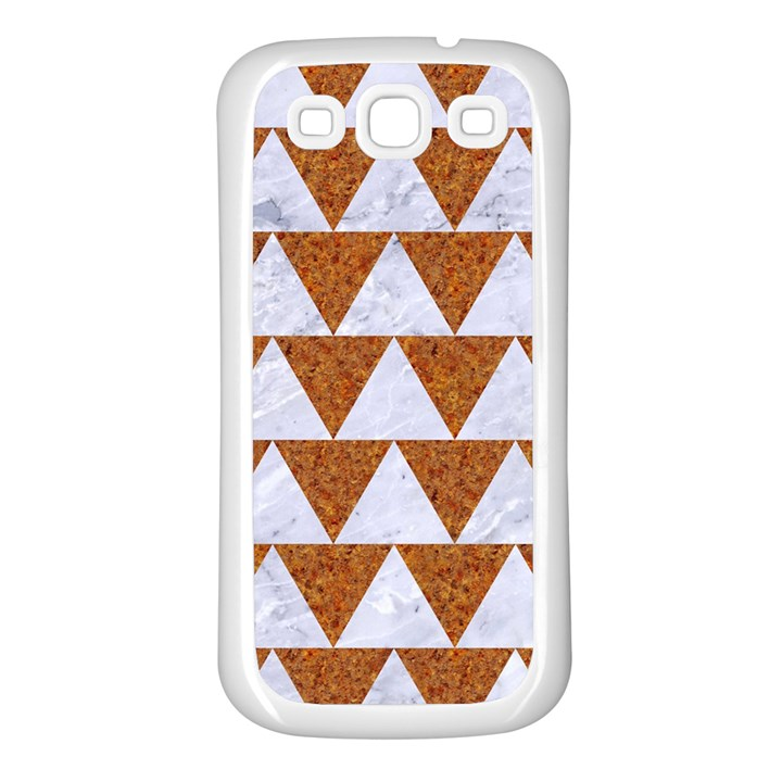 TRIANGLE2 WHITE MARBLE & RUSTED METAL Samsung Galaxy S3 Back Case (White)