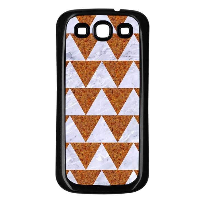 TRIANGLE2 WHITE MARBLE & RUSTED METAL Samsung Galaxy S3 Back Case (Black)